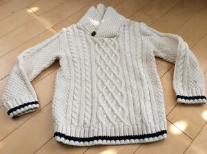 Boys cable knit cream sweater size 5