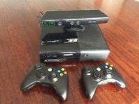 Xbox 360 E 250 GB plus 2 genuine wireless controllers and Kinect unit