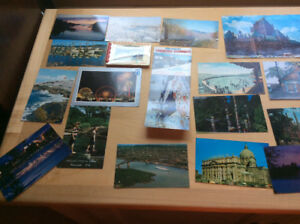 CANADIAN POSTCARDS AND MANY POSTAGE STAMPS