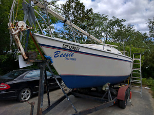 sailboat 25 foot swing keel and trailer