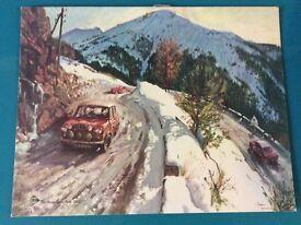 Vintage DUNLOP Forecourt Calendar Print of The Monte Carlo Rally 1965