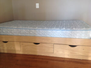 Twin bed frame with mattress