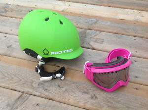 Ladies helmet and goggles