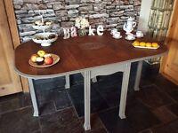 Oak gateleg table hand painted shabby chic
