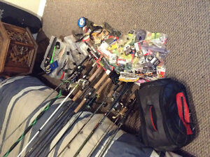 Ten rods and reels with fully loaded tackle