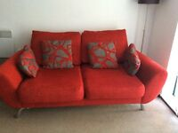 DFS red sofa and arm chair (retractable)