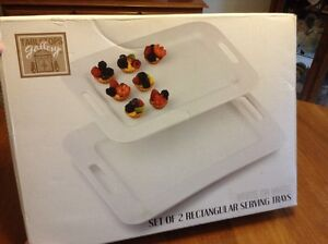 New Large Ceramic White on White Serving Trays in box