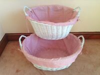 PAIR OF WHITE PAINTED WICKER LAUNDRY BASKETS. SHABBY CHIC