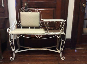 ANTIQUE WROUGHT IRON BENCH SHABBY CHIC