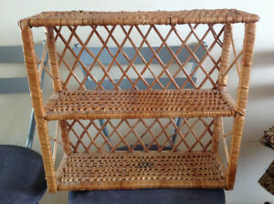 wall hanging wicker 2 shelfs unit - like new condition