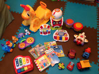 Lot of baby toys and board books