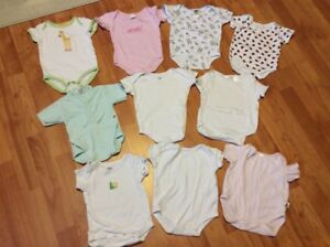 10 baby girl short sleeve diaper shirts, size NB to 3 months