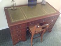 Mahogany Desk, Pedestal with a green leather inlay top.