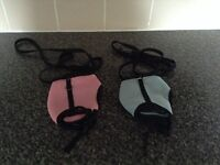 Two breathable pet harnesses with leads medium size brand new