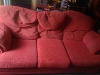 Terracotta large comfortable British 3 seat sofa