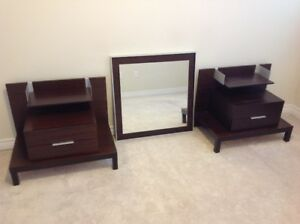 Modern, sleek night stands and mirror! Perfect condition!