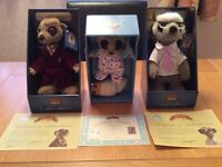 Three Meerkats toys boxed with certificates