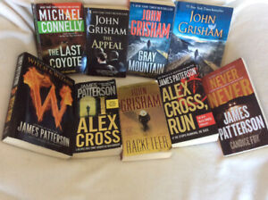 Novels, by Patterson, Grisham & Connelly