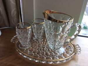 Glass pitcher, glasses and tray
