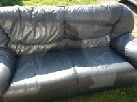 Free blue leather 3 person sofa