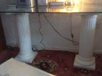 Glass Pedestal Table