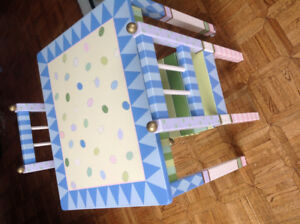 Custom Painted Wooden Table with Two Chairs EXCELLENT CONDITION
