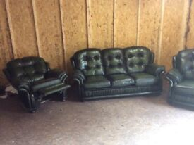 CHESTERFIELD STYLE REAL LEATHER SUITE £650