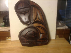 Vintage NORTH WEST COAST NATIVE ART WOOD WALL CARVING