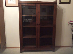 oak glass fronted bookcase