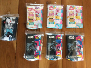New! Kids Star Wars or NumNoms underwear packs of 6 size4,6 or 8
