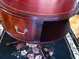 English Rotating Mahogany Drum Table With Embossed Leather Top Peterborough Peterborough Area image 5