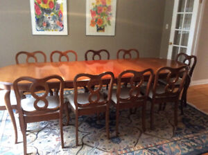 Vintage Cherry Wood Gibbard Dining Table And Ten Chairs