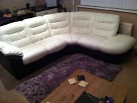 DFS large leather 5 seater corner couch in white leather with a brown leather base
