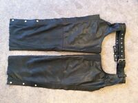 Leather Motorcycle Trousers / Chaps - Mens