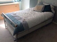 Single Bed with Pull Out Guest Bed/ Silver Trundle Bed on Wheels / Truckle Bed with 2 Mattresses