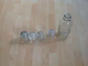 Antique Glass Power Pole Insulators and one old milk bottle