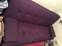 Purple sofa bed with chrome legs