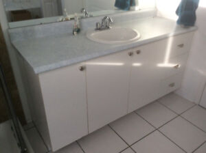 Vanity with countertop and taps