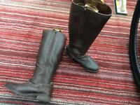 Knee height leather boots