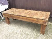 Chunky rustic solid wood coffee table