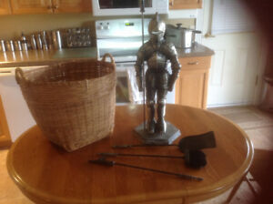 Steel, Fireplace  Accessory Set and wood storage basket $25.00