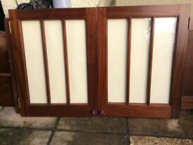 Pair of MAHOGANY GLAZED DOORS- Superb Quality & Condition
