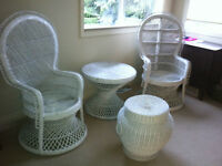 WICKER CHAIRS (2) MATCHING TABLE, STORAGE BASKET