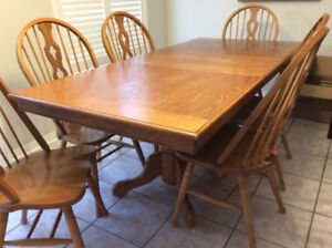 Solid Wood Kitchen Table, 6 Chairs and Extension Leaf *REDUCED*