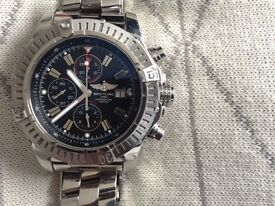 BREITLING SUPER AVENGER II DIVERS WATCH STAINLESS STEEL BLACK DIALS, GENUINE