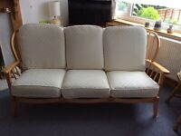 3 Seater Windsor Settee with Wooden Frame and Cream Upholstery