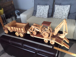 Wooden dump truck , flatbed and backhoe !