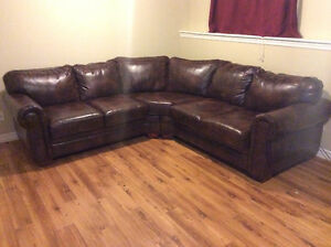 Beautiful Brown Leather Sectional Couch
