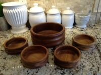 Teak Salad Bowl Set - 5pcs for $25