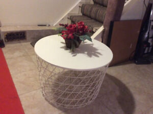 WHITE COFFEE TABLE WITH MULTI FEATURES ( STORAGE FACILITIES)